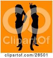 Clipart Illustration Of Two Black Silhouetted Women Standing Over An Orange Background