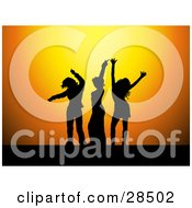 Clipart Illustration Of Three Black Silhouetted Women Dancing Over An Orange Background