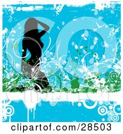 Clipart Illustration Of A Sexy Black Silhouetted Woman Kneeling In Green And White Vines Over A Dripping White Grunge Bar Over Blue