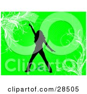 Clipart Illustration Of A Black Silhouetted Woman Dancing Over A Green Background With White Vines