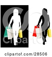 Clipart Illustration Of A Woman Silhouetted In Black And White Carrying Colorful Shopping Bags