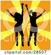 Clipart Illustration Of Two Black Silhouetted Women Dancing Over A Bursting Orange And Yellow Background