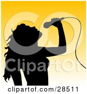Clipart Illustration Of A Black Silhouetted Woman Tilting Her Head Back And Singing Into A Microphone Over A Gradient Yellow Background by KJ Pargeter