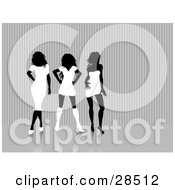 Clipart Illustration Of Three Sexy Black Silhouetted Women Dressed In White Dresses And Skirts Posing Standing Against A Gray Background by KJ Pargeter