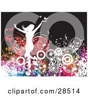 Clipart Illustration Of A White Silhouetted Woman With Colorful Plants Circles And Butterflies Over A Dark Brown Background