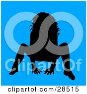 Clipart Illustration Of A Sexy Black Silhouetted Woman Crouching Over Blue