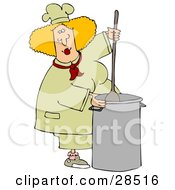 Blond White Culinary Chef Woman Mixing A Pot Of Food In A Kitchen