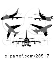 Clipart Illustration Of A Set Of Five Black Silhouetted Airliner Planes by KJ Pargeter