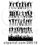 Clipart Illustration Of A Set Of Black Silhouetted People In Different Dance Poses With A Crowd Waving Their Arms