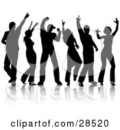 Clipart Illustration Of A Group Of Six Black Silhouetted People Friends Dancing With A Reflection Over White