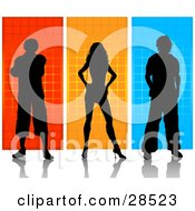 Clipart Illustration Of Two Silhouetted Men And A Woman Over Orange Yellow And Blue Backgrounds