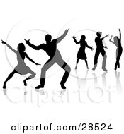 Clipart Illustration Of People Dancing Silhouetted With Reflections