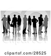 Group Of Black Silhouetted Businessmen And Businesswomen
