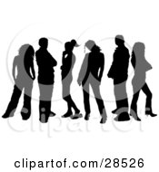 Six Black Silhouetted Men And Women Standing Over White