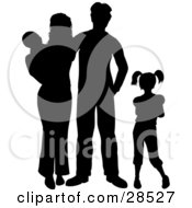 Black Silhouetted Family With Two Children