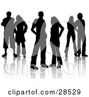 Clipart Illustration Of A Group Of Six Black Silhouetted Men And Women Standing Together