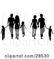 Two Black Silhouetted Families With Children And Parents Walking And Holding Hands