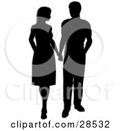 Clipart Illustration Of A Black Silhouetted Couple Holding Hands And Looking At Each Other