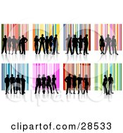 Set Of Groups Of Black Silhouetted People Standing Over Colorful Striped Backgrounds