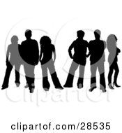 Clipart Illustration Of Six Men And Women Silhouetted In Black With A White Background