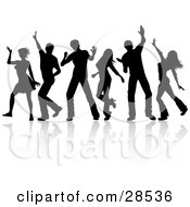 Clipart Illustration Of A Group Of Six Dancers With Reflections Silhouetted Over White