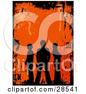 Clipart Illustration Of Three Black Silhouetted People Standing Over An Orange Background With Splatters And Scratches Bordered By Black Grunge