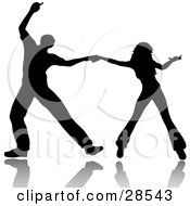 Clipart Illustration Of A Black Silhouetted Couple Ballroom Dancing Holding Hands While Spreading Out
