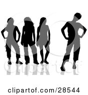 Clipart Illustration Of A Group Of Black Silhouetted Women With Attitudes Standing In Different Poses