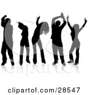 Clipart Illustration Of A Group Of Five Dancers With Reflections Silhouetted Over White