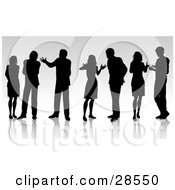 Seven Black Silhouetted Business People Having Conversations