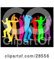 Clipart Illustration Of A Group Of Colorful Yellow Orange Pink Blue Red Green And Purple Dancers Over Black