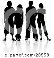 Four Male And Female Friends Standing Silhouetted In Black With A White Background