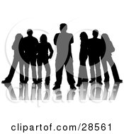 Clipart Illustration Of Two Groups Of Three Standing Behind One Man Silhouetted In Black With A White Background