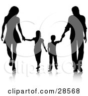 Clipart Illustration Of A Black Silhouetted Family Walking Together And Holding Hands by KJ Pargeter
