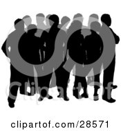 Clipart Illustration Of Two Rows Of Silhouetted Men And Women Standing In A Group