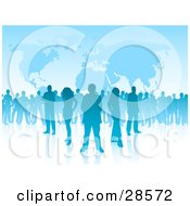 Clipart Illustration Of A Group Of Blue Silhouetted People Standing Over A Blue Background With Maps