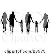 Clipart Illustration Of Black Silhouetted Families Walking And Holding Hands
