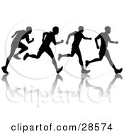 Clipart Illustration Of A Black Silhouetted Man Shown In Motion Jogging Or Running With A Reflection And Four Poses by KJ Pargeter