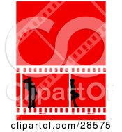 Two Black Silhouetted People Standing In Frames Of Film Strips Over A Red Background