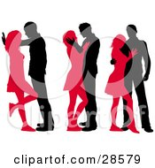 Clipart Illustration Of Three Passionate Black And Red Silhouetted Couples In Different Sexy Poses by KJ Pargeter