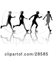 Clipart Illustration Of A Black Silhouetted Woman Shown In Motion Jogging Or Running With A Reflection And Four Poses by KJ Pargeter
