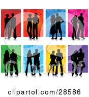 Clipart Illustration Of A Set Of Eight Black Silhouetted Couples Posing Against Red Orange Blue Pink Green Yellow And Purple Backgrounds