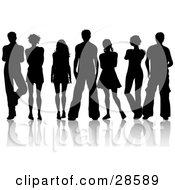 Clipart Illustration Of Seven Men And Women Silhouetted In Black With A White Background