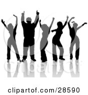 Clipart Illustration Of A Group Of Five Silhouetted Dancers In Black Having Fun At A Party