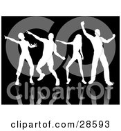 Clipart Illustration Of Four White Silhouetted People With Reflections Dancing Over A Black Background