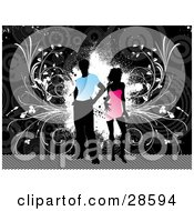 Clipart Illustration Of A Black Silhouetted Man In A Blue Shirt Standing With A Woman In A Pink Dress Over A Grunge Gray Background With White Splotches And Vines