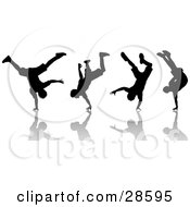 Clipart Illustration Of A Black Silhouetted Man Break Dancing Shown In Four Poses With Reflections