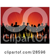 Clipart Illustration Of A Group Of Black Silhouetted People Standing In Grass Against A Red Sunrise Or Sunset Background