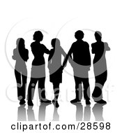 Clipart Illustration Of Five Male And Female Friends Standing Silhouetted In Black With A White Background