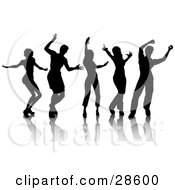 Clipart Illustration Of Five Silhouetted Men And Women Dancing Over White